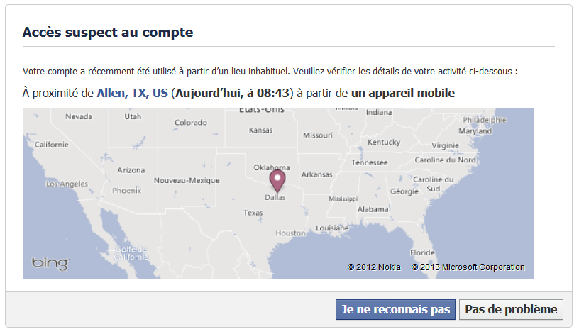 comment hacker un compte facebook - acces suspect