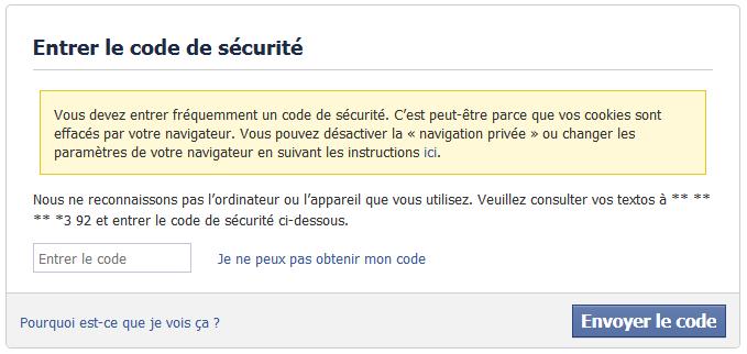hacker un compte facebook est impossible avec un Code de sécurité