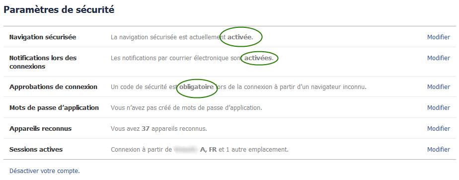 Paramètres de sécurité - pirater un compte facebook