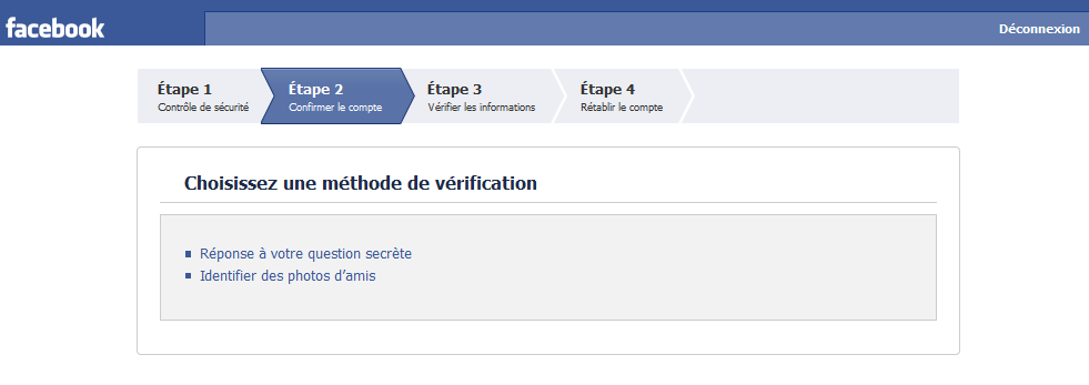 Méthode de vérification rendant impossible de pirater facebook