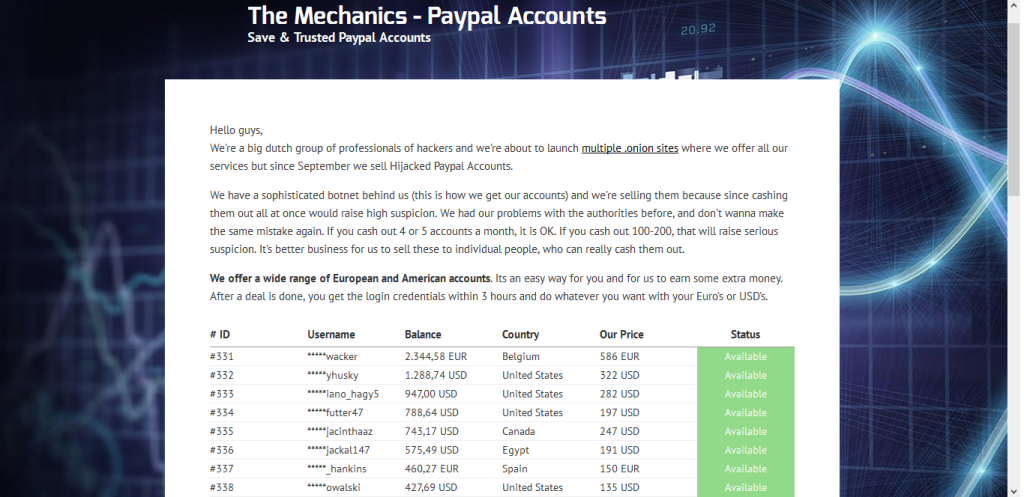 carding paypalaccount