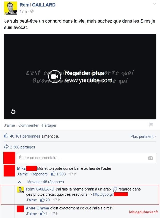 page sans nom piratage Facebook
