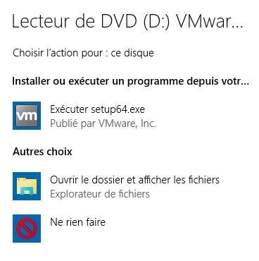 écran lecteur DVD installation Tools VMWARE