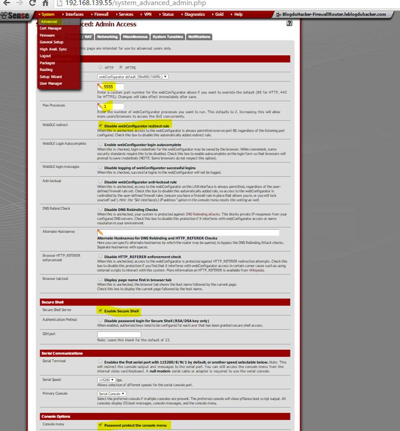 Capture Admin Acces WebGUI Port max process protect console menu