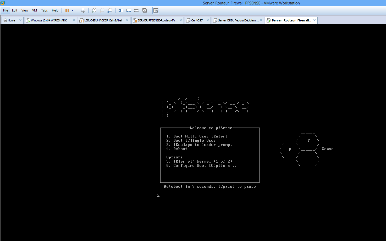 Capture Démarrage install Server roteur firewall PFSENSE