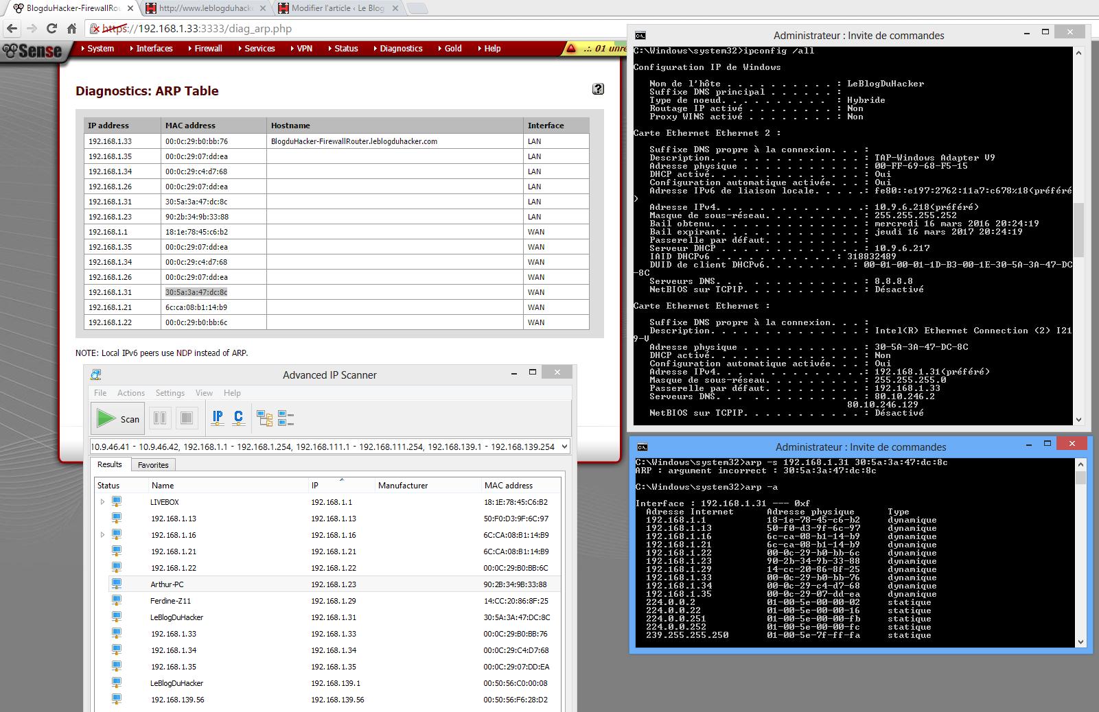 Capture IP SCAN table ARP