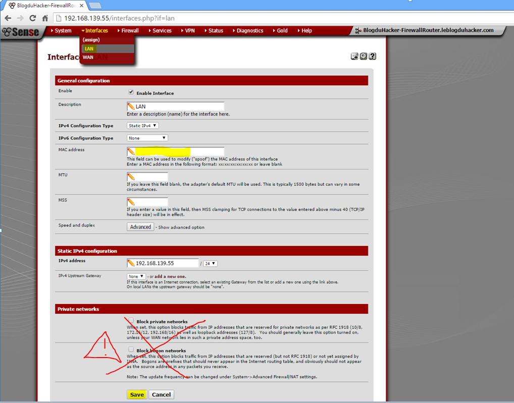 Capture Modif pour souder Adress MAC interface LAN sur WebGUI PFSENSE