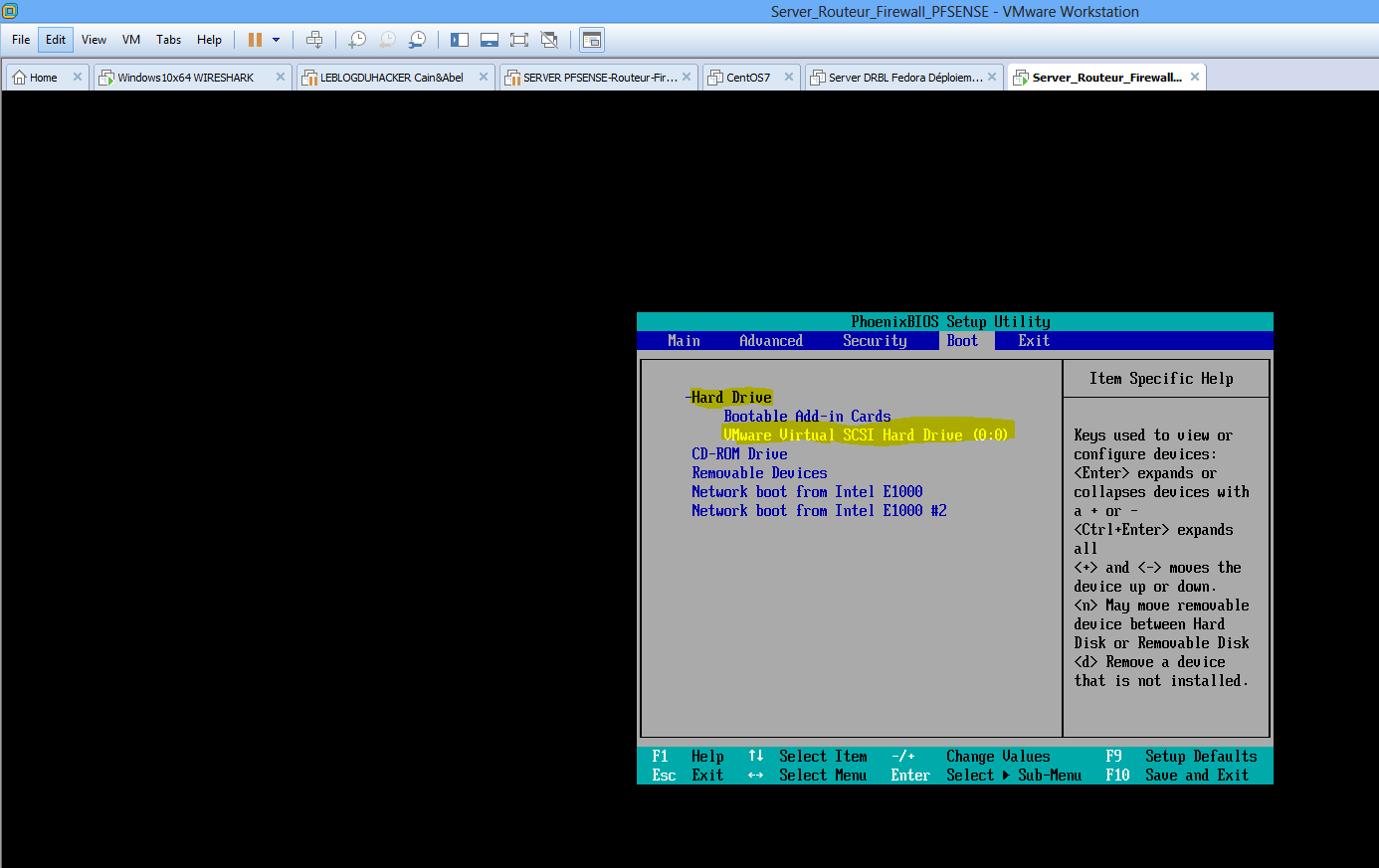 Capture Power On Firmware Bios démarrage Server PFSENSE sur Hard Drive VMWARE
