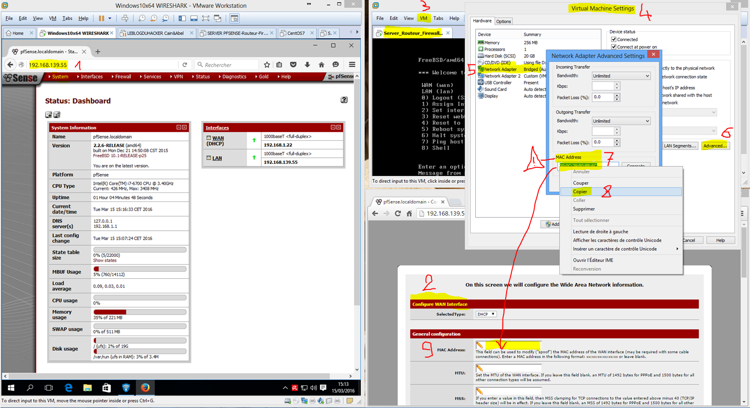 Capture Séquence Config Adress MAC Interface WAN Bridged VMWARE soudée via Wizard Setup Web Admin