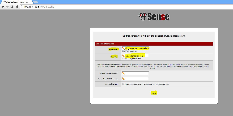 Capture Saisie Hostname et Domain Config Admin RouterFirewall via Web