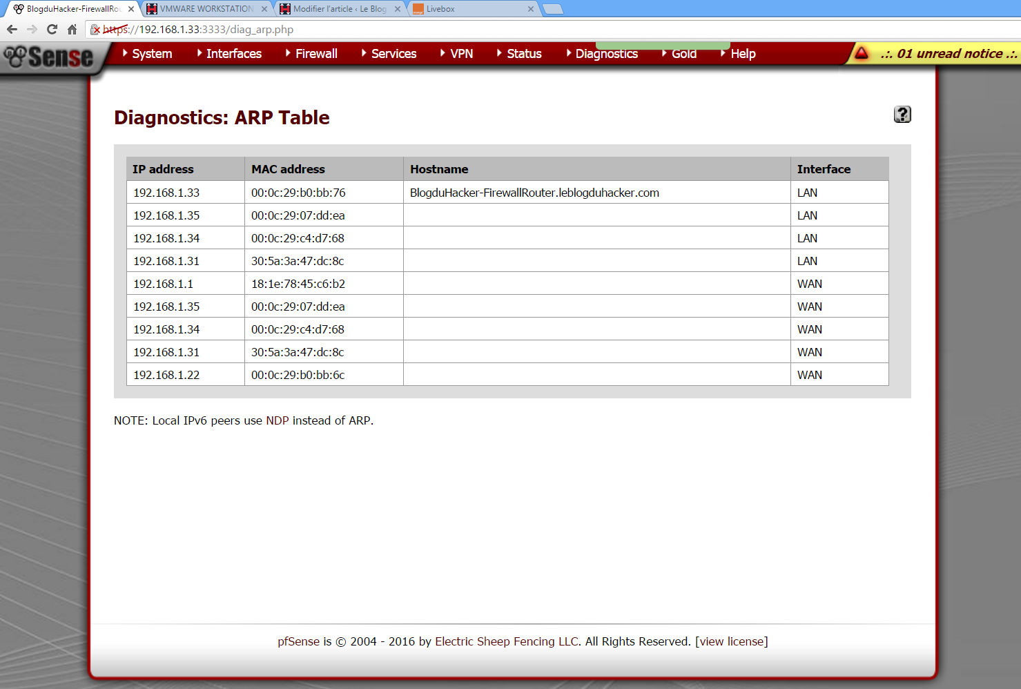 Capture Table ARP PFSENSE