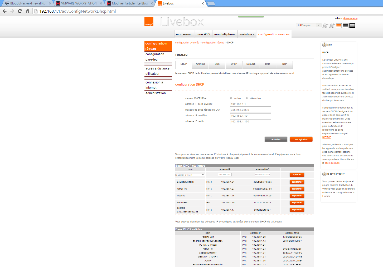 Capture admin Livebox ip dhc et static OK