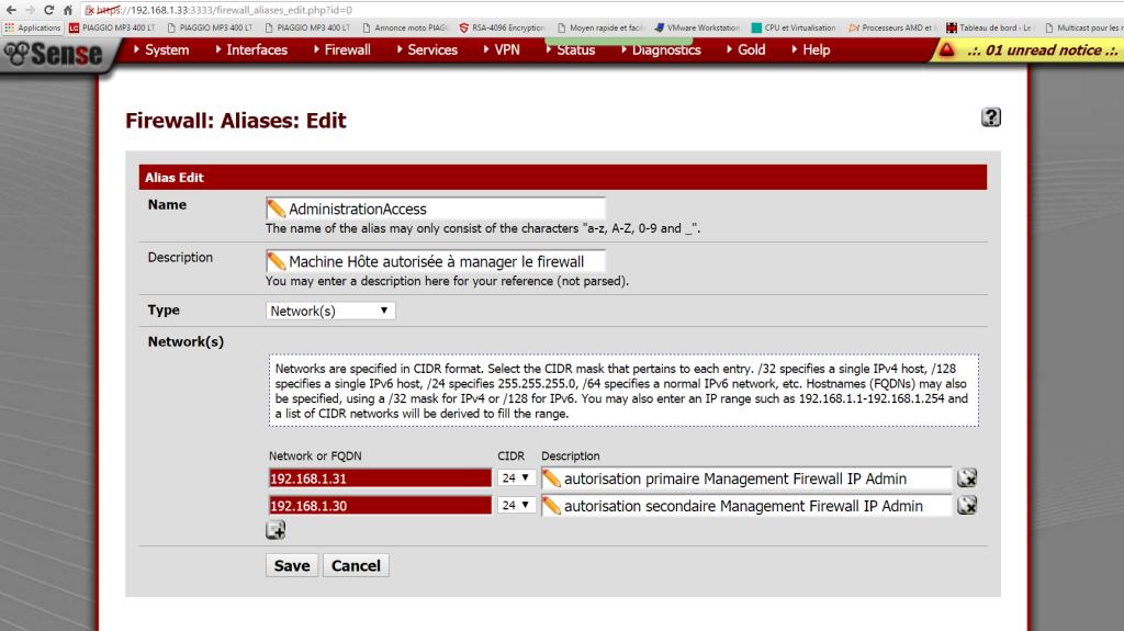 Capture création alias AdministrationAccess
