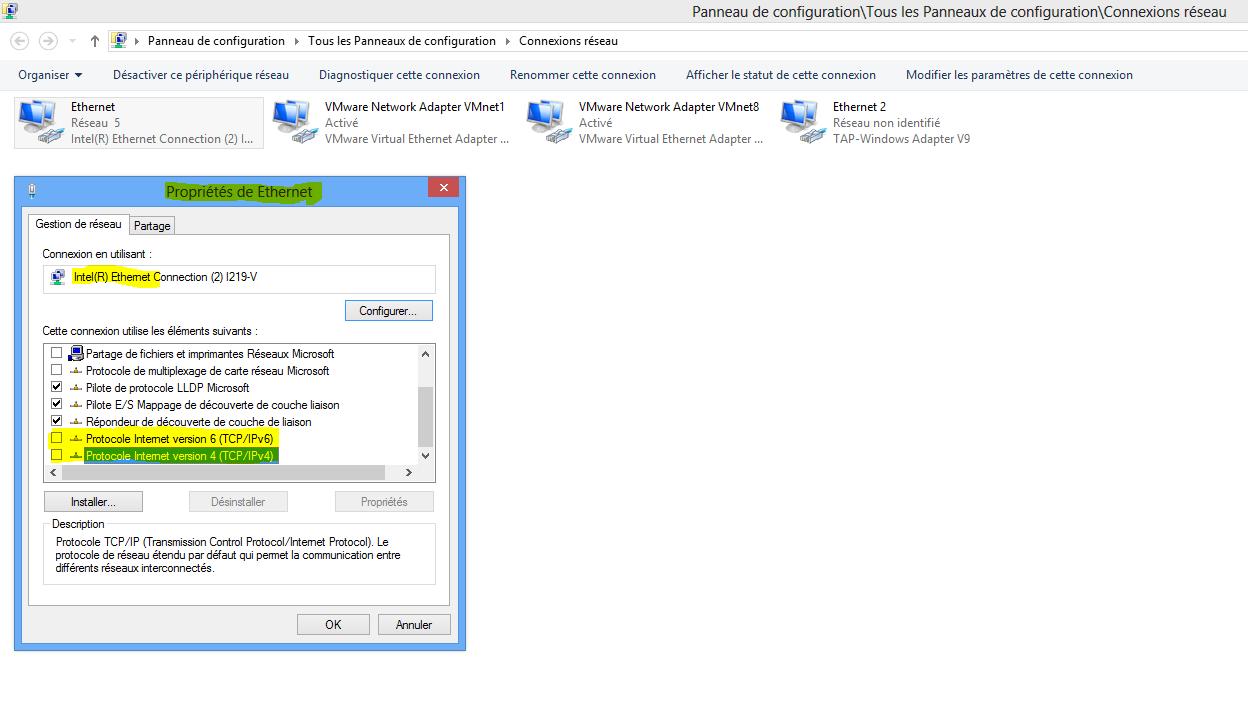 Capture désactivation propriétés TCP-IPv4v6 de la carte Ethernet physique de lHOST