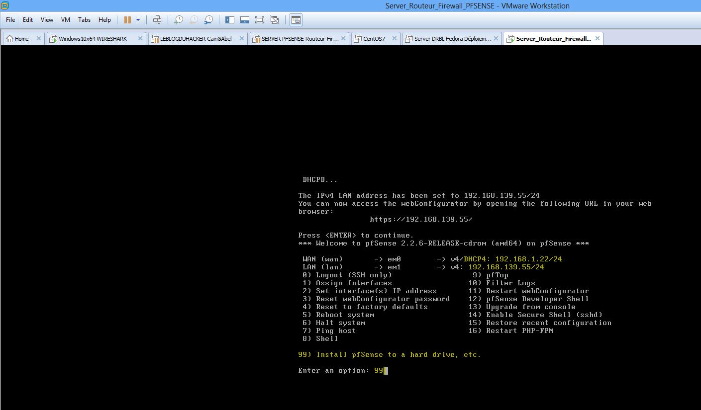 Capture fin config server PFSENSE option 99 pour installer PFSENSE sur un Disk Dur