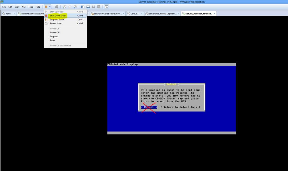 Capture fin install Kernel PFSENSE Shut Down VM