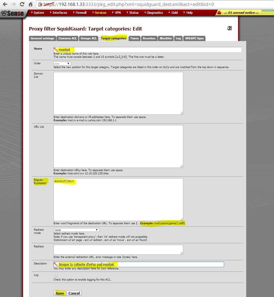 Capture generalsettings Targetcategories block la collecte par msnbot 5