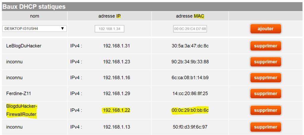 Capture soudage IP MAC WAN sur Box