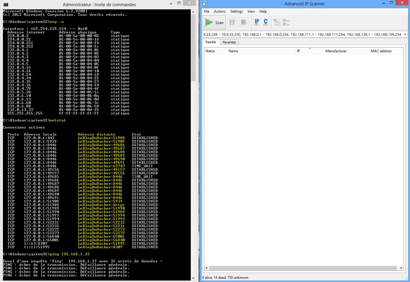Capture vérification arp ping netstat après isolation de l'orinateur HOST