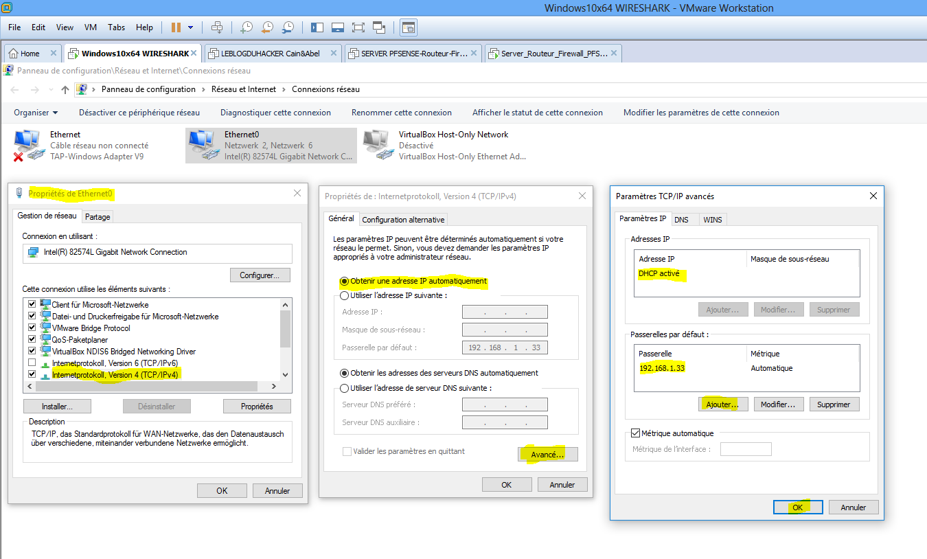 Config TCP.IP VM Windows résolu