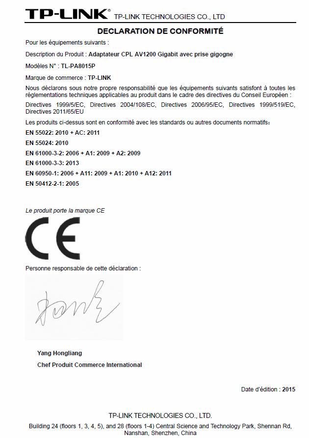 Déclaration de conformité du plug CPL
