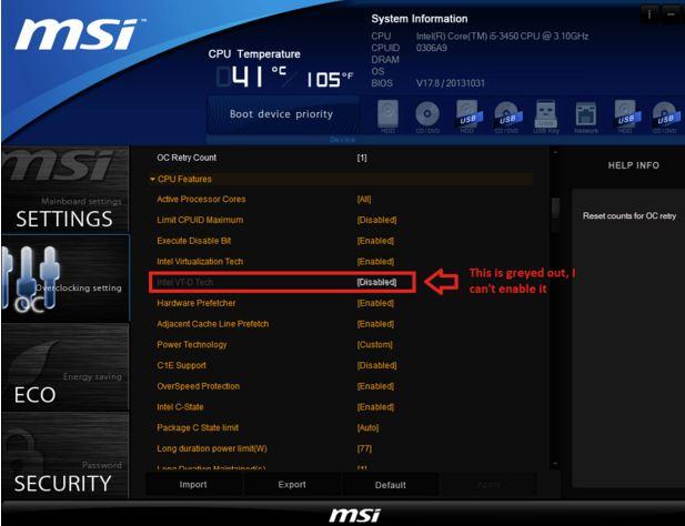 Ecran 2 Bios setup CPU virtualization