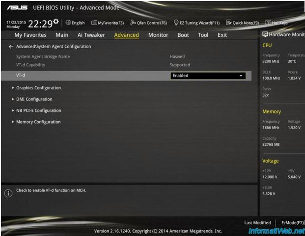 Ecran Bios Virtualization Intel VT-d