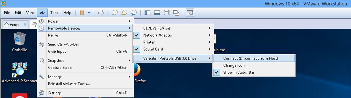 Ecran déconnexion support de stockage sous VMWARE