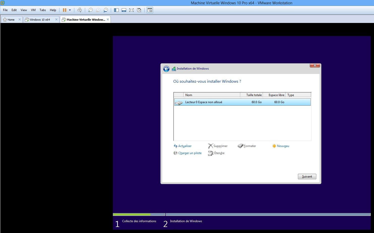 Ecran installation 1 et formatage lecteur 0 non alloué 60Go