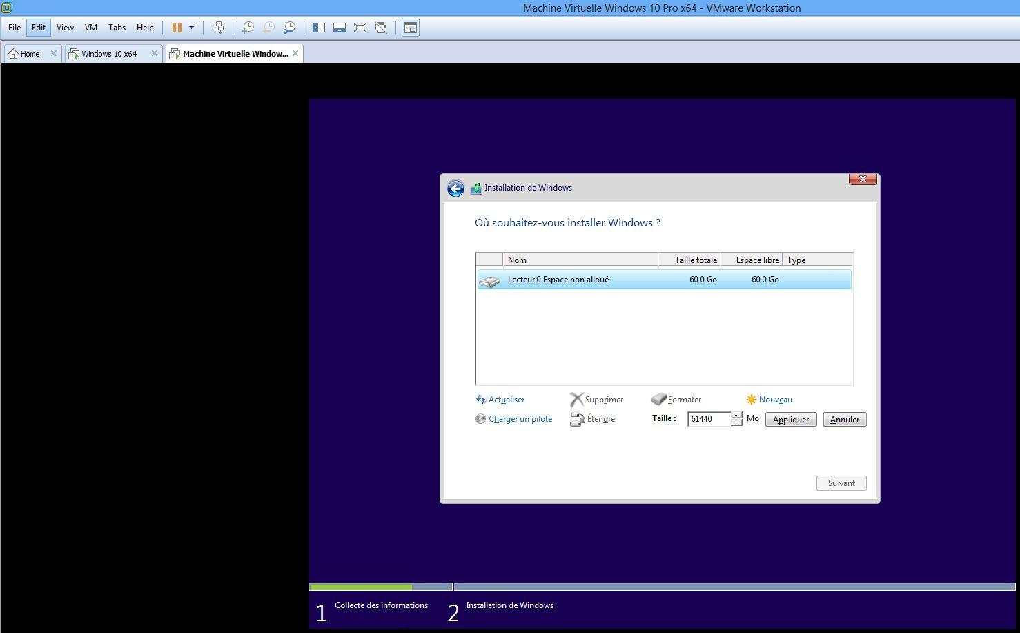 Ecran installation et formatage 2 lecteur 0 non alloué