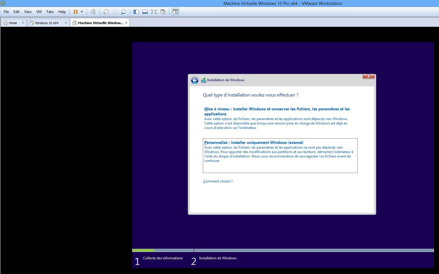 Ecran installation personnalisée Windows 10 Pro x64