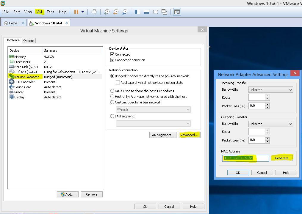 Ecran modification adresse MAC interface réseau suite clonage VM