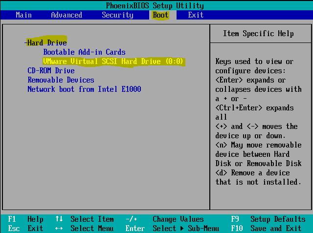 Installation 10 Démarrer VM CentOS7 sur le disque dur virtuel VMWARE dan le Bios Setup