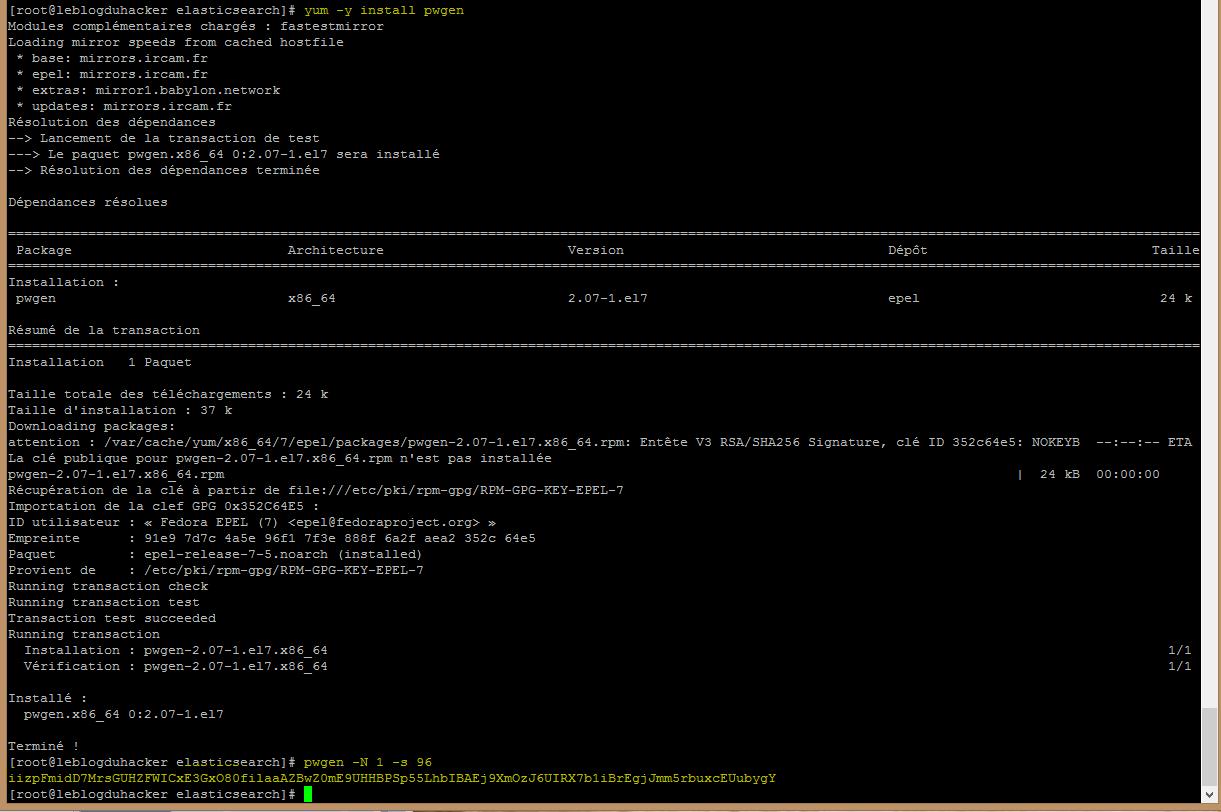 Installation 36 Install générateur pwgen et creation mot de passe usser Graylog