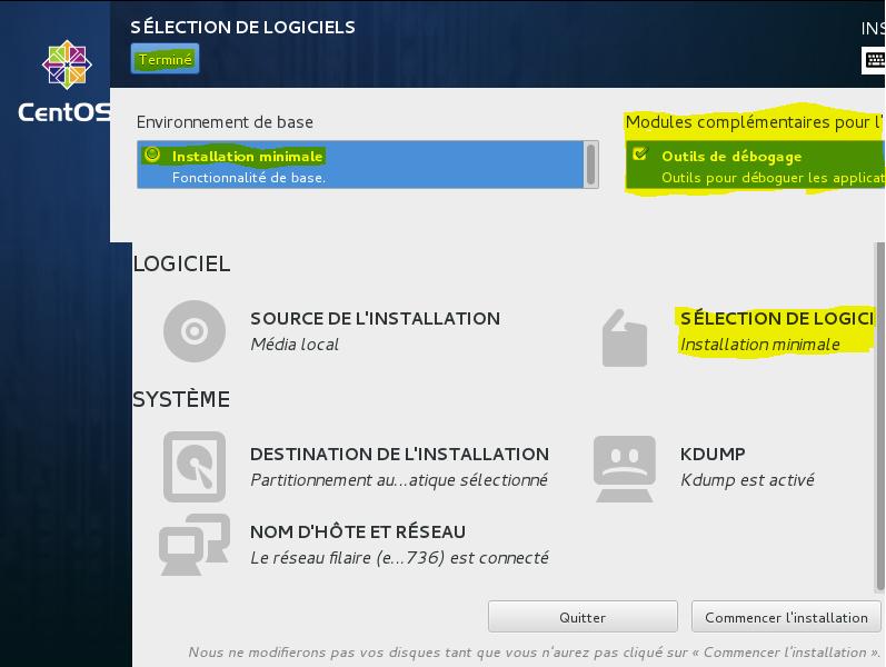 Installation 4 vérif Install minimale et outils de débogage
