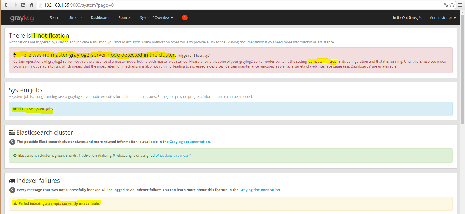 Installation 48 Mise en état false du Master node pour vérifier l'incidence sur Graylog