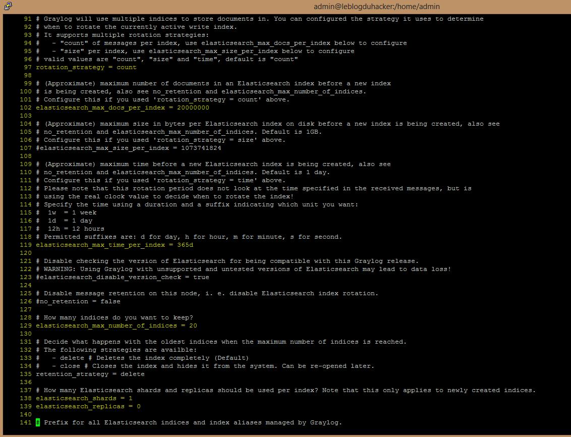 Installation 50 Fichier config Graylog2