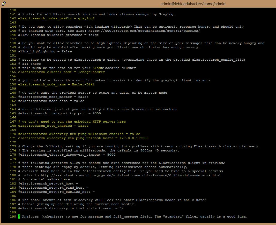 Installation 50 Fichier config Graylog3