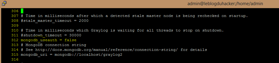 Installation 50 Fichier config Graylog4