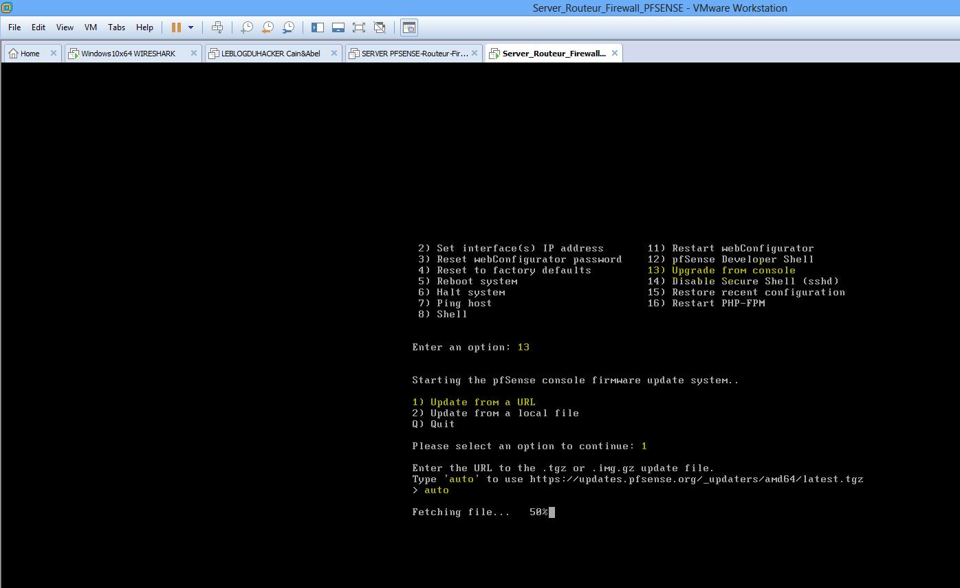 Mise à jour firmware PFSENSE via console admin