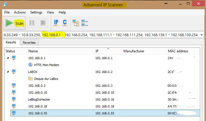 Scan IP réseau privé voicin