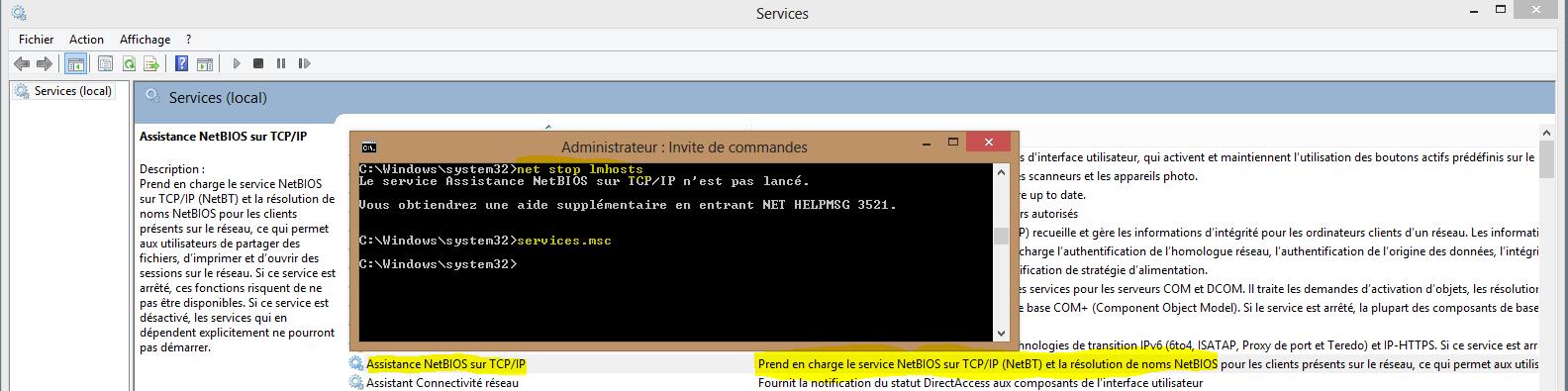 Image 17 Arrêt services.msc Assistance NetBIOS