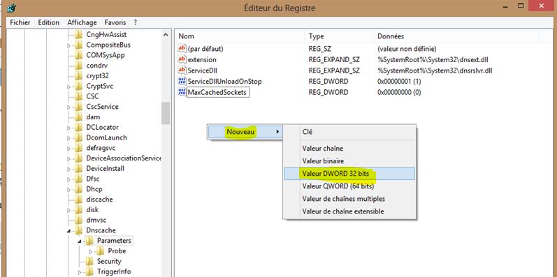Image 23 ajout valeur MaxCachedSockets REG_DWORD DNS Cache