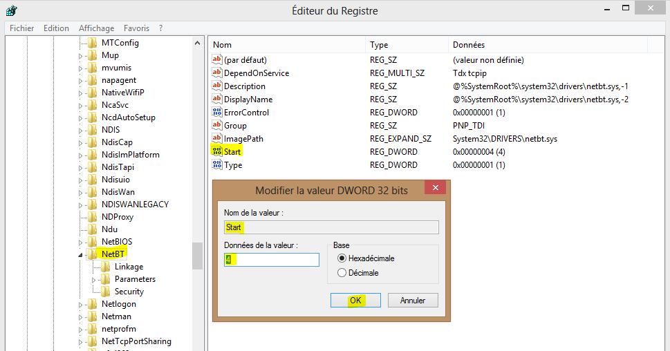 Image 25 désactivation pilote NetBT dans registre