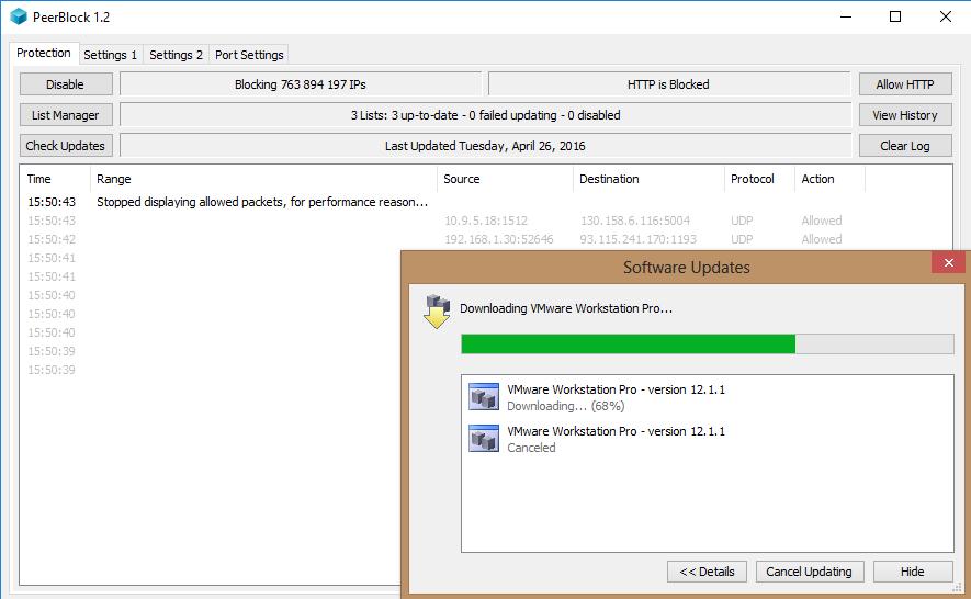Image 28 relance de la mise à jour VMWARE et suivi tracking PeerBlock