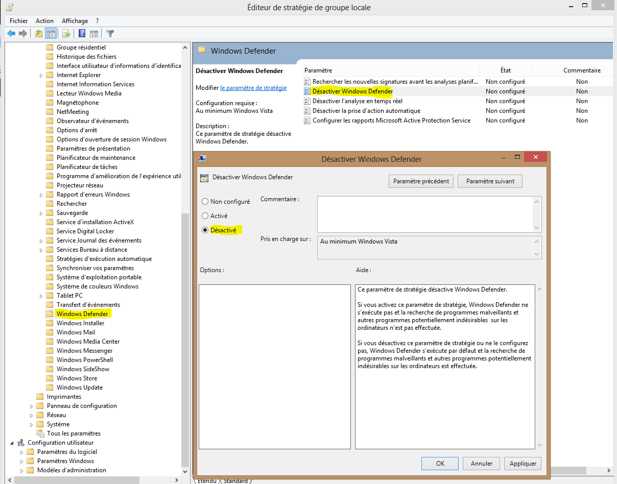 Image 34 suite chemin pour la désactivation Windows Defender