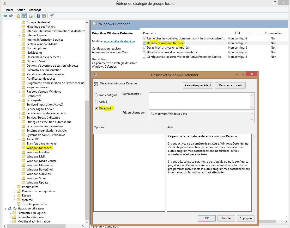 Image 34 suite chemin pour la désactivation Windows Defender