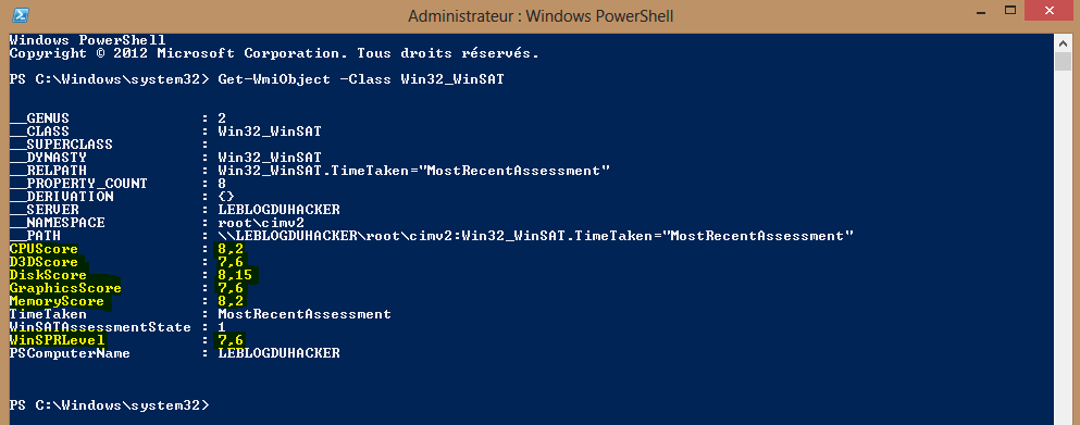 Image 38 Test performance powershell machine hote windows 8 pro