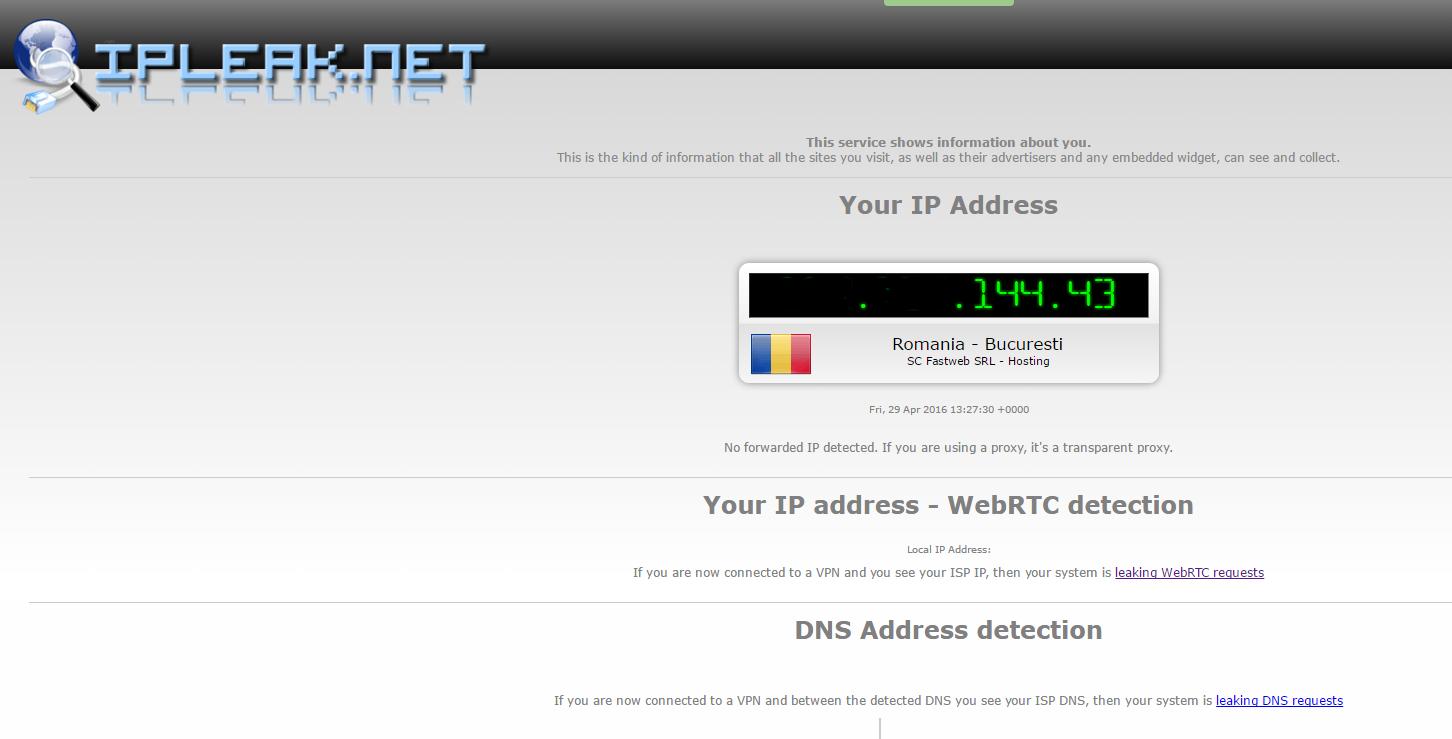 Image 46 1 vérification IPLEAK suite à la protection via Ipredator Server DNSCrypt