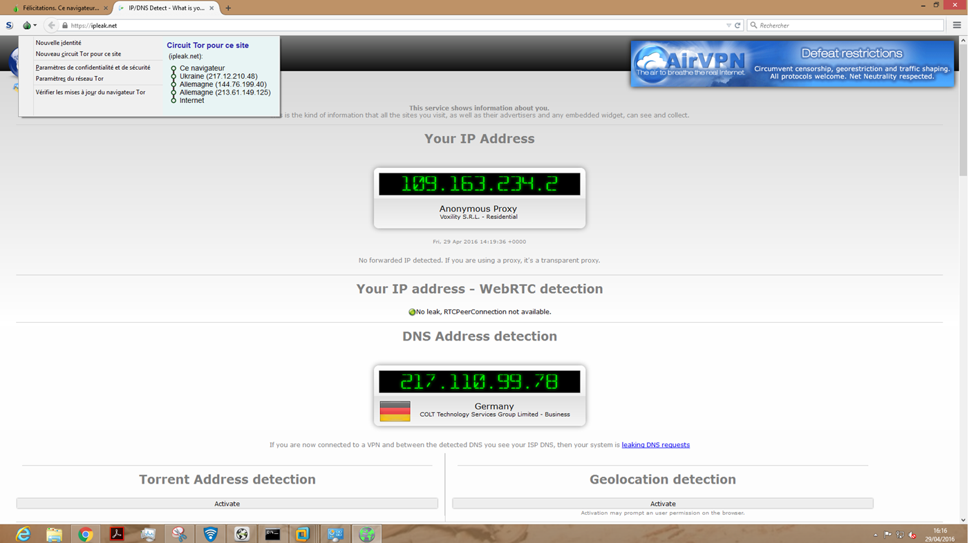 Image 47 vérification IPLEAK via Tor fuites DNS confirmée
